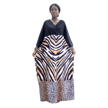 2020 Newest Design African Dresses For Women Pattern & Leopard Pattern Print Diamonds Black Dress African Clothes alluring jewel neck leopard pattern open back dress for women