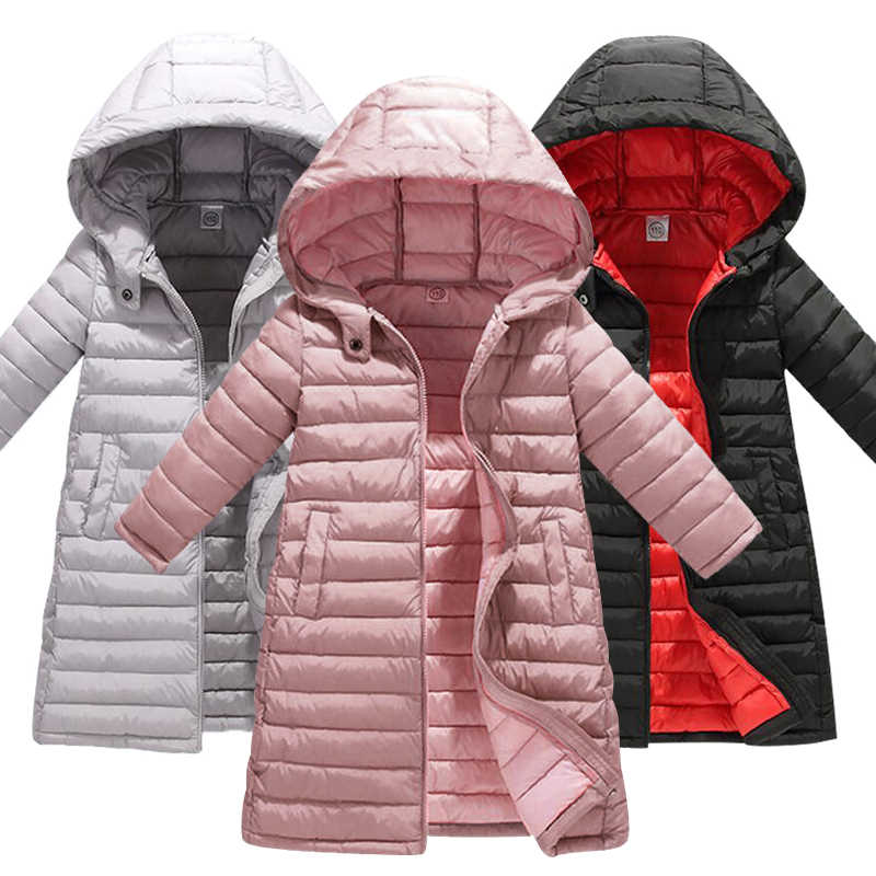 Russia Winter Boys & Girls Winter Duck Down Children Thickening Warm Down Jackets Long Big Fur Hooded Outerwear Coats Kids Down