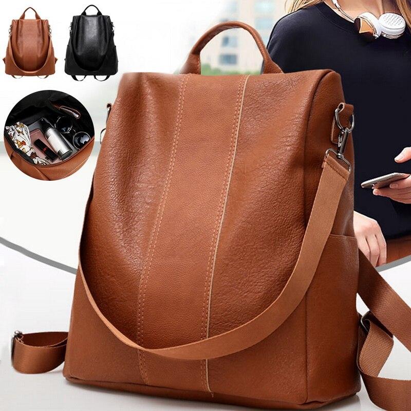 JODIMITTY Women Fashion Backpack Solid Color PU Leather Backpacks Teenager Girls Female Anti-theft Shoulder Bag Mochila Feminina