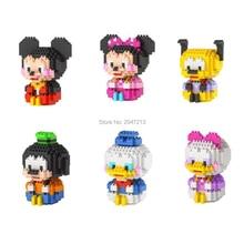 цена на hot LegoINGlys classic creators mouse duck Mickey minnie Pluto Donald Duck Goofy model mini micro diamond blocks brick toys gift