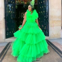 Green Cake Skirts Prom Dresses Tiered Tulle Pleats Ball Gown вечернее платье Dubai African Plus Size Evening Gowns