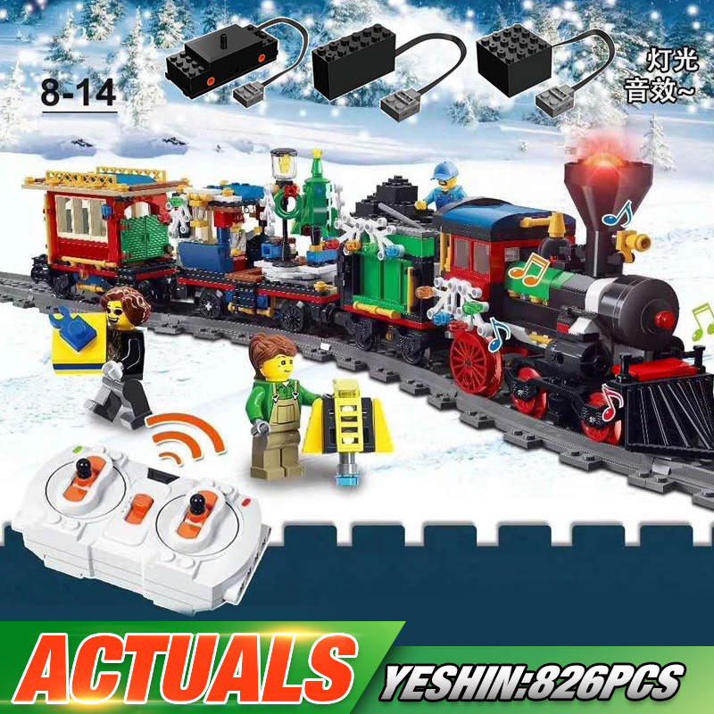 Yeshin 36001 Motorized Techic Car Model Compatible With 10254 Winter Holiday Train <font><b>Building</b></font> <font><b>Blocks</b></font> Bricks Kids Christmas Gifts image