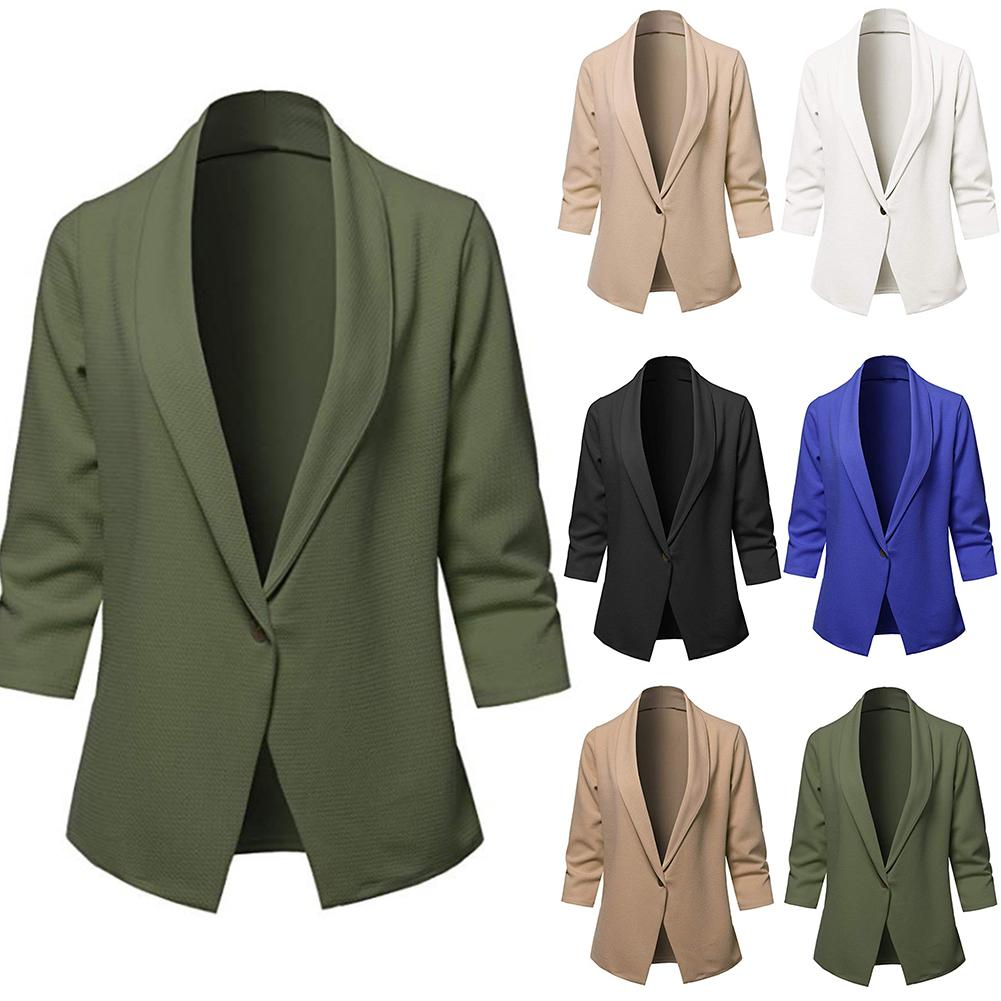 2020 New Autumn Winter Fashion Chic Lady Lapel Solid Color Slim And Fit 3/4 Sleeve Office Suit Jacket Coat Blazer clothing women