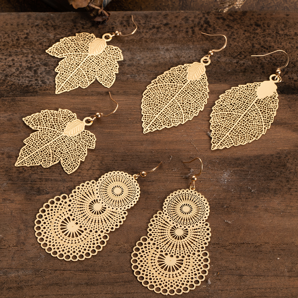 Multiple Vintage Boho Ethnic Dangle Drop Earrings for Women Female Fashion 2019 Golden Leaf Earrings Jewelry Accessories