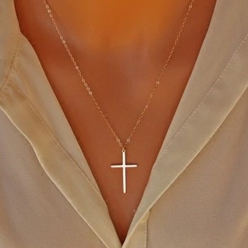 Cross Necklace Simple Jesus Women Chain Ladies Pendant Girls Jewelry Yellow Gold Color Vintage European Metal Collares image