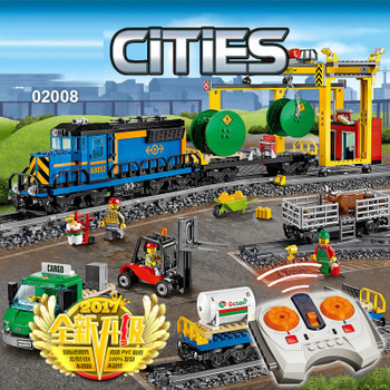 959pcs City Motorized Remote Control Cargo Train 02008 Compatible With lepining Model Building Block Boy Brick