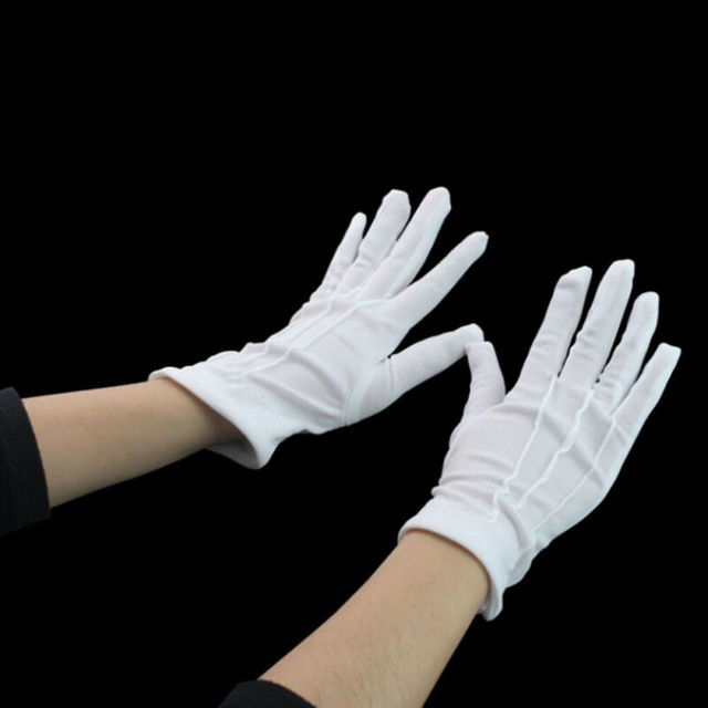 High Quality HOT Selling Functional 1 pair Cotton gloves Khan cloth quality check Solid gloves rituals play white gloves 3