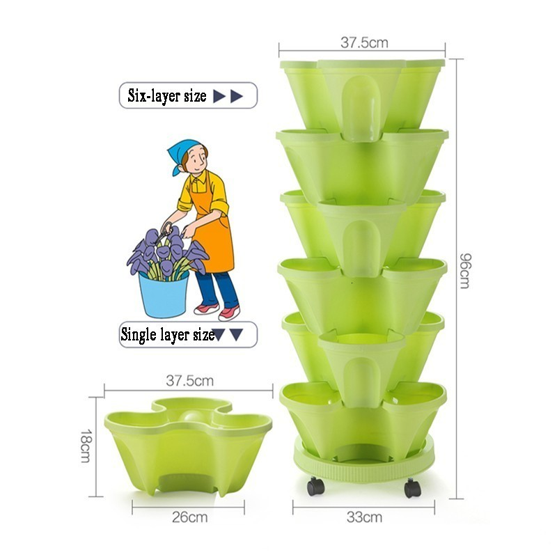 PP Three-dimensional Three-petal Flower/strawberry Pot Multilayer Stacking Cultivation Pot Vegetable Melon Fruit Planting Pot