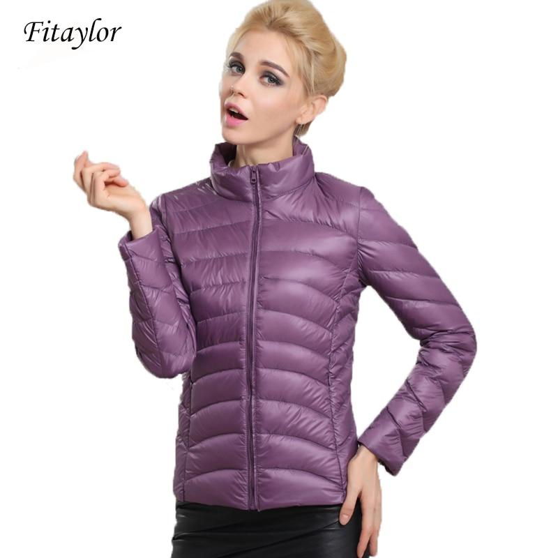 Fitaylor Spring Autumn Women Short Design Jackets Slim Casual Ultra Thin Coat Duck Down 90% Jacket Inverno Jaqueta Feminina