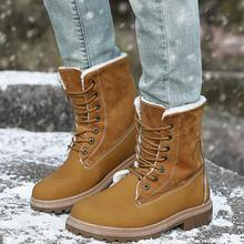 Women Casual shoes Winter warm snow boots women Comfort Round Toe lace up flats Mid-Calf Boots Women Boots mujer zapatos a81