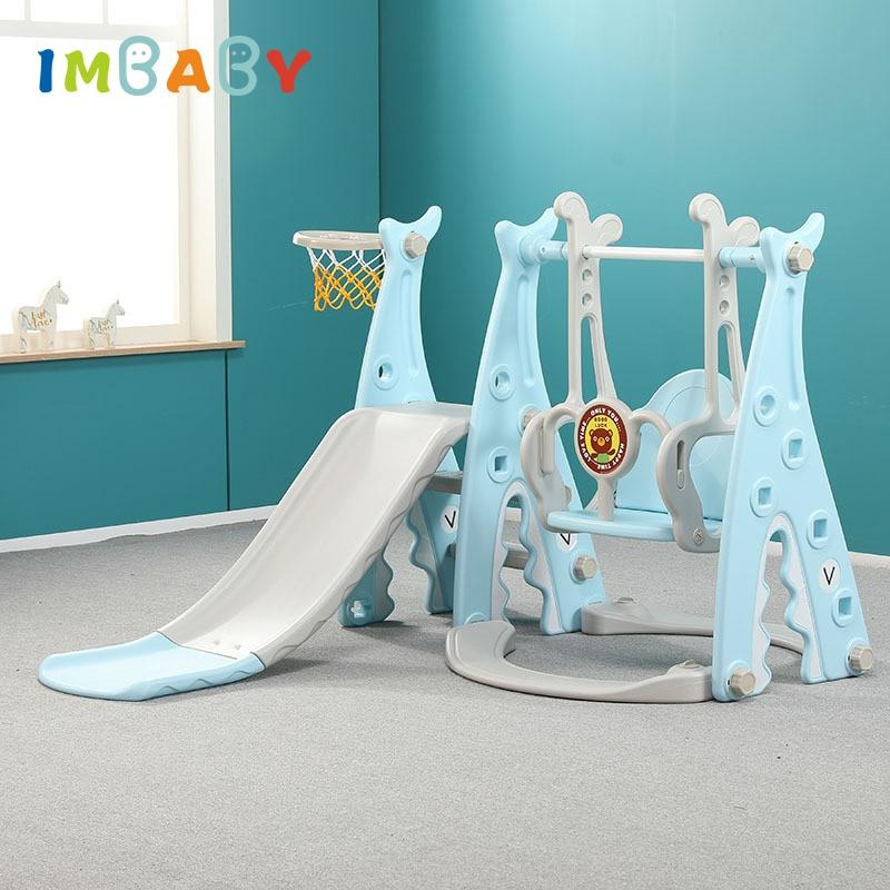 IMBABY Baby Swing Chair Slide Combination Kids Indoor Outdoor Playground Kindergarten Babys Child Multifunction Slide+Swing Toys(China)