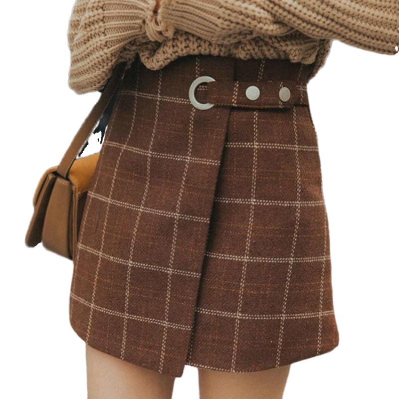Casual Basic Fashion All Match Plaid Vintage Irregular High Waist College Wind 2019 New Fashion Women Mini Skirts With Belt