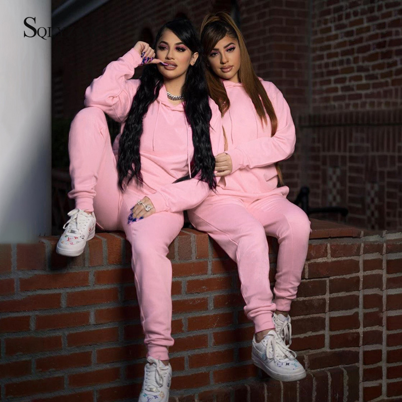 Solid Tracksuit 2pcs Women Set Hoodies Sweatshirt+Pants Hooded 2 Pieces Sets Women Autumn Thick Warm Clothing Sweat Suits Female