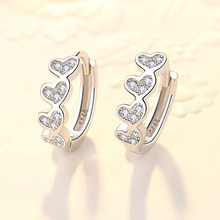 1 Pair Women Small Hoop Earrings 925 sterling silver Piercing Circular Ear Buckles Earring with Crystal Heart Ear Circle Jewelry(China)