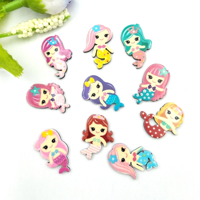 20pcs Lovely Colorful mix Various Mermaid For Home Wedding Decor Crafts Making Scrapbooking DIY Hair Bow Center 5