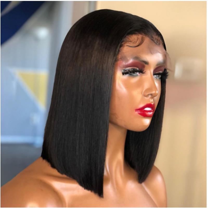 Черный 13х6 парик из человеческих волос короткий боб прямой кружевной передний парик для черных женщин отбеленные узлы с ребенком