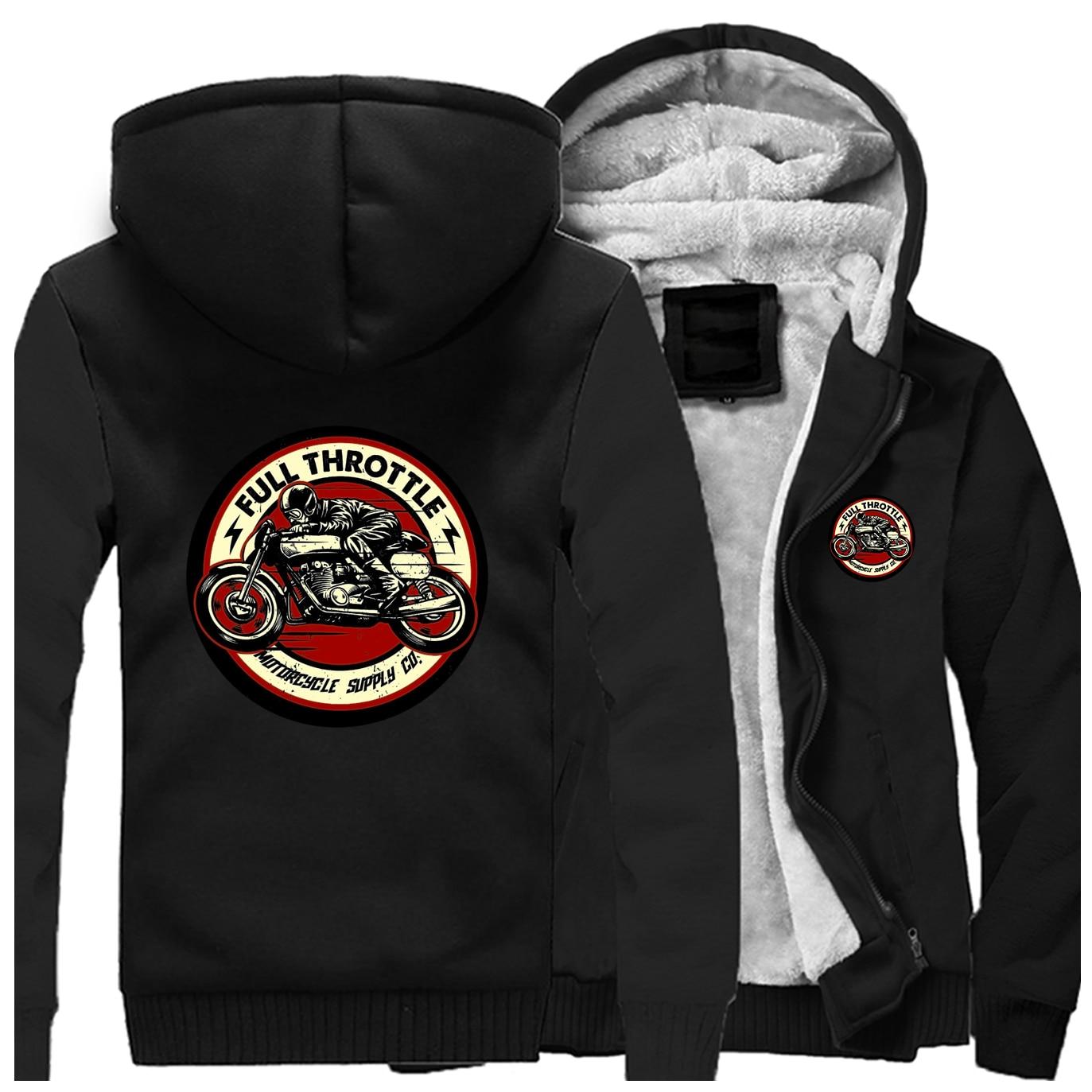 2019 Winter Men Thick Sweatshirt Full Throttle Cafe Racer Rockabilly Biker Zipper Jacket Fleece Warm Mens Thicken Hoodies