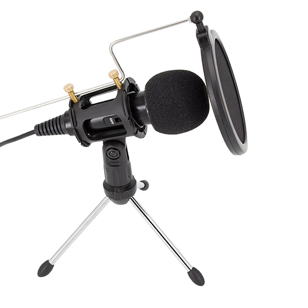 Mini Condenser Microphone Plug&Play Home Studio Microphone With Pop Filter Stand For PC Laptop