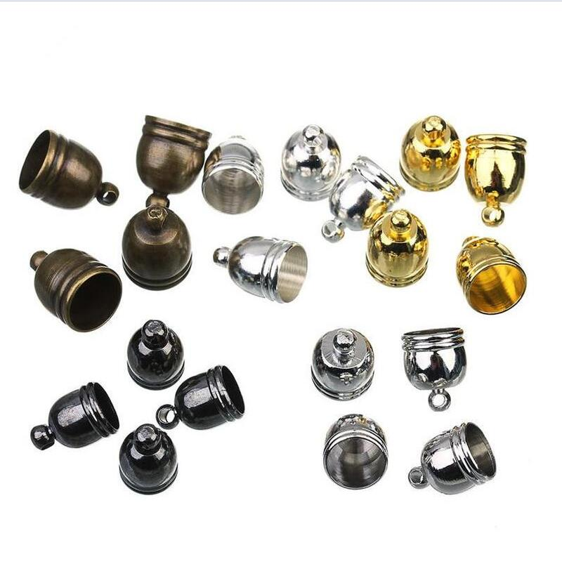 50pcs 7.5mm Hole Bronze,Rhodium,Gold,Silver Necklace Leather Cord End Caps Tassel Crimp End Connector DIY Jewelry Findings Z486