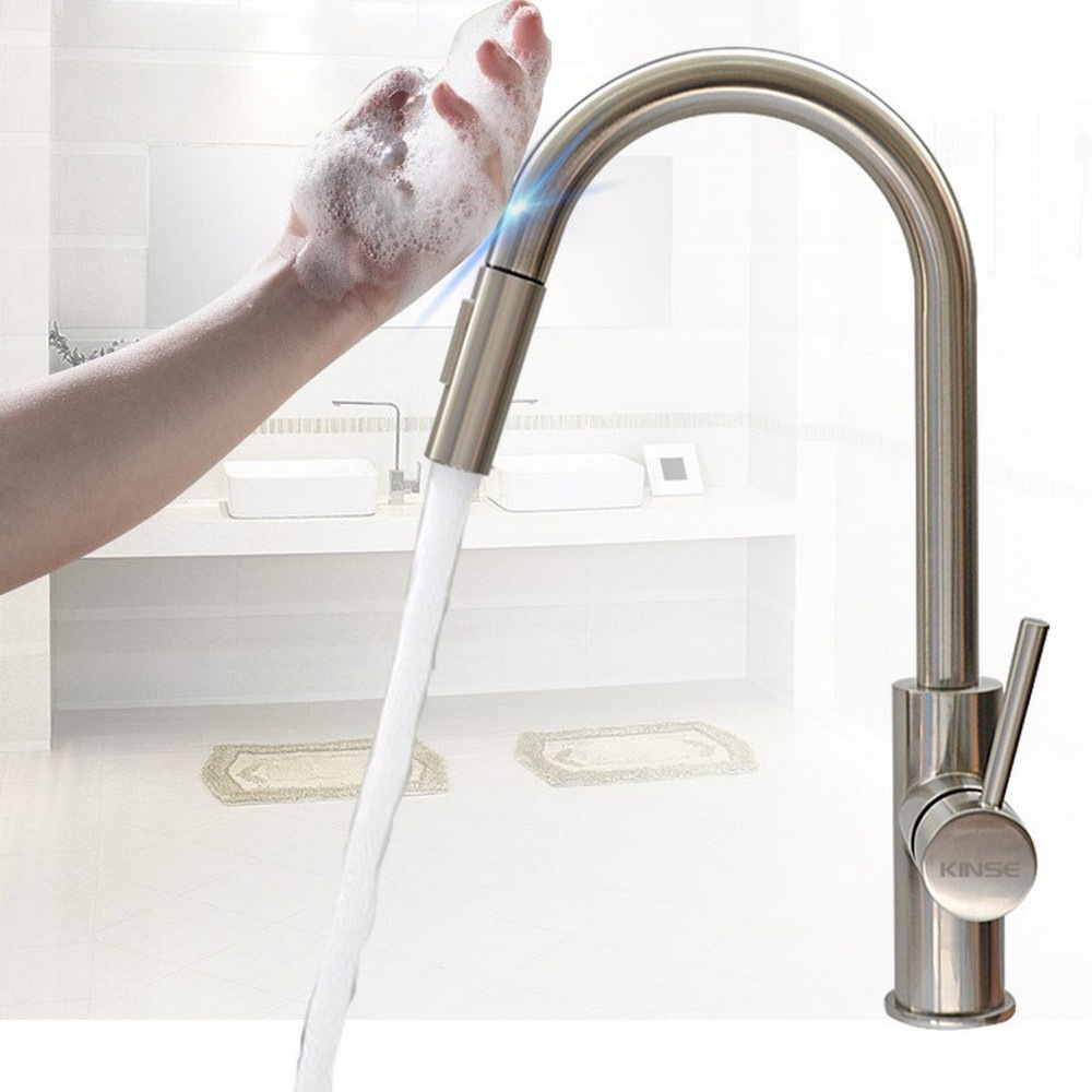 Robinets de cuisine inductifs tactiles 360 Rotation retirer poignée robinet mélangeur cuisine chaude eau froide mélangeur robinet Torneira Da Cozinha