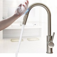 Touch Inductive Kitchen Faucets 360 Rotation Pull Out Handle Faucet Mixer Kitchen Hot Cold Water Mixer Tap Torneira Da Cozinha