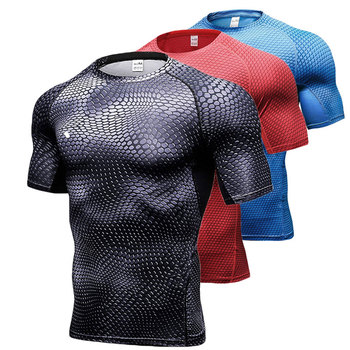 Quick Dry Workout Running Shirt Compression Fitness Tops Breathable Gym T-shirts Clothing Rashguard Male Sport Shirts Men