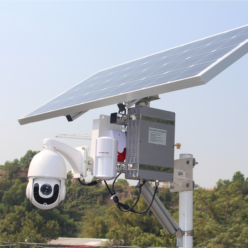 100w Solar Power Camera 4G 3G Gsm Sim Card Slot Outdoor Wifi Wireless Ip Ptz Security Cctv  With PIR Detector Alarm 128G
