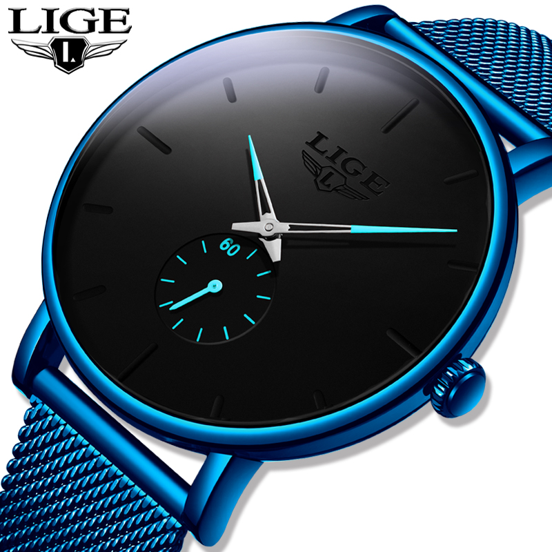 Relogio Masculino LIGE 2020 New Fashion Blue Mens Watches Top Brand Luxury Waterproof Simple Ultra-Thin Watch Men Quartz Clock