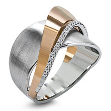 European and American Hot Sale Women's Rose Gold Ring with Simple Bow Zircon for charming female women gifts 2020