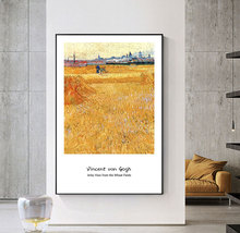 Canvas Painting Decor Oil  Painting Wall Picture Poster Modern Wall Art Picture Famous Van Gogh  Arles VIew From the Wheat Field