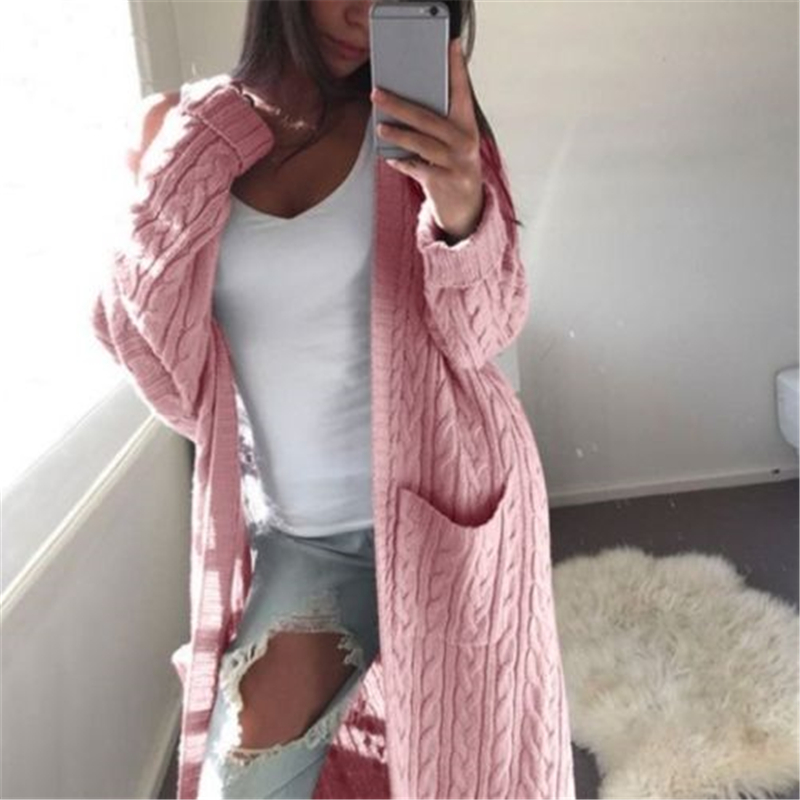 Winter Long Knitted Cardigan Women Sweater Open Stitch Long Sleeve Pockets Woolen Sweaters Vogue Female Clothing