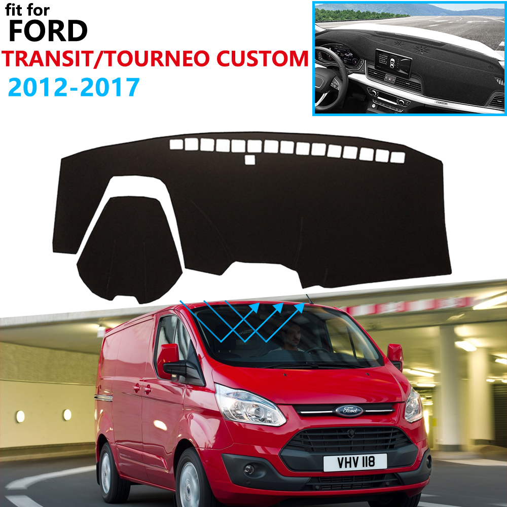 Dashboard Cover Protective Pad for Ford Transit Tourneo Custom 2012 2017 Car Accessories Dash Board Sunshade Anti-UV Carpet 2016