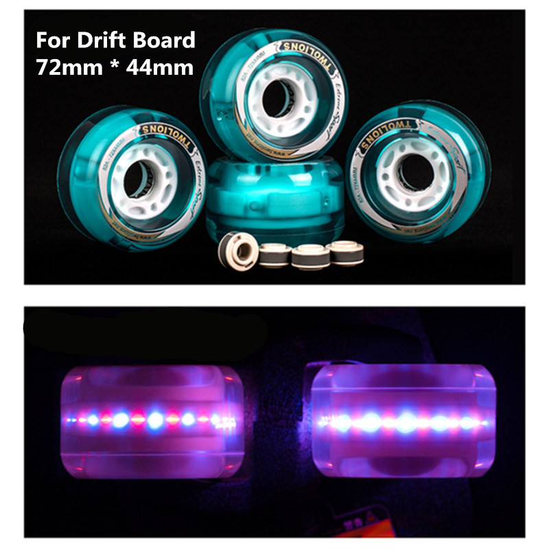 [72mm*44mm] 82A Drift Board Wheel Branded TWOLIONS PU Skateboard Wheels, LED Flash Skate Board Wheel With Magnet Core As Gift