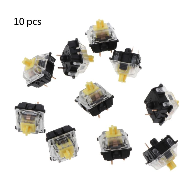 10Pcs Mechanical Keyboard Gateron MX 3 Pin Yellow Switch Transparent Case