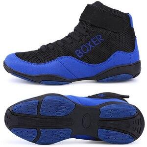 Новый Для мужчин s боксерские ботинки светильник Вес бокс кроссовки Для мужчин дышащие туфли для Реслинга; Открытый синий и красный цвета бо...