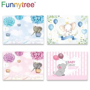 Image 1 - Funnytree hot air balloon elephant first birthday party background childrens photozone backdrop baby shower baptism party Decor