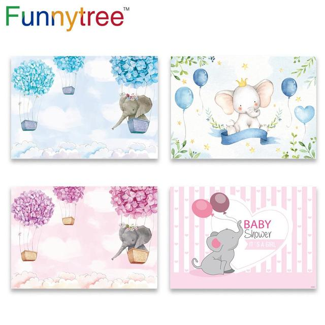 Funnytree hot air balloon elephant first birthday party background childrens photozone backdrop baby shower baptism party Decor