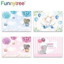 Funnytree بالون الهواء الساخن الفيل الأول عيد ميلاد خلفية حفلات الأطفال فوتوزون خلفية استحمام الطفل المعمودية ديكور الحفلات
