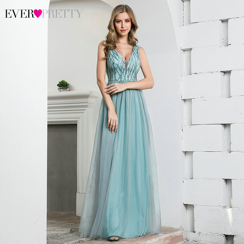 Sparkle Blue Prom Dresses Ever Pretty EP00774DB A-Line Deep V-Neck Sleeveless Sequined Tulle Sexy Party Gowns Vestidos De Gala