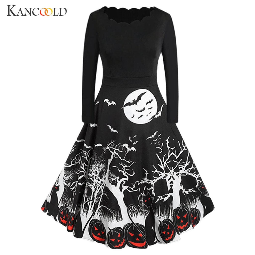 KANCOOLD Vintage Print Long Sleeve Round Collar Vintage Dress Pumpkin Halloween Print Show Costume Adult Party Role Play Makeup