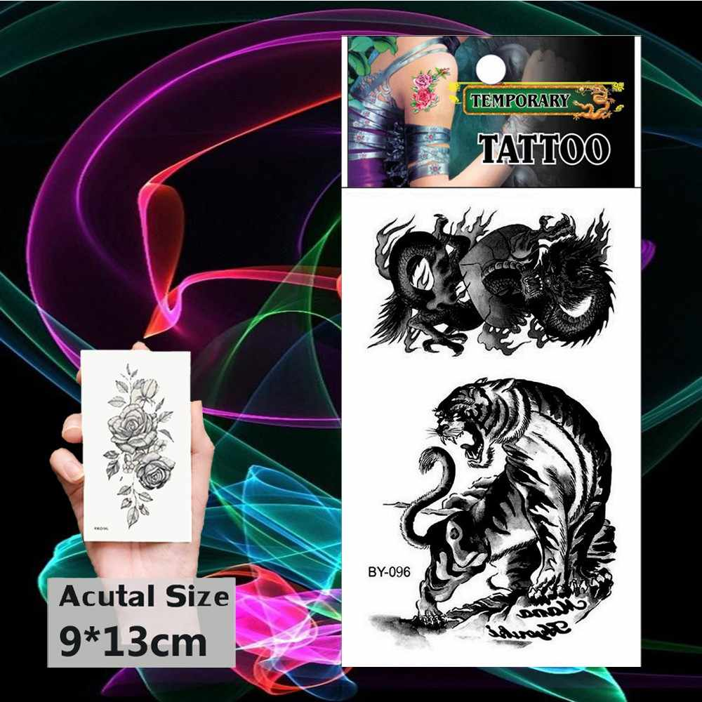 Tijdelijke Tatoo Black Dancing Dragon Fake Tattoo Sticker Woeste Tijger Tatouage Flash Tatto Arm Been Tatoeages Mannen Vrouwen Meisje