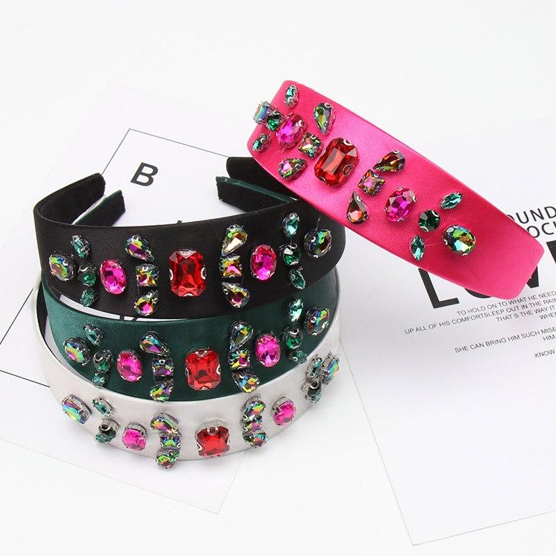 CN Baroque Rhinestone HairBands Women Red Crystal Wide Hoop Jeweled Headband Wedding Hair Jewelry Accessories