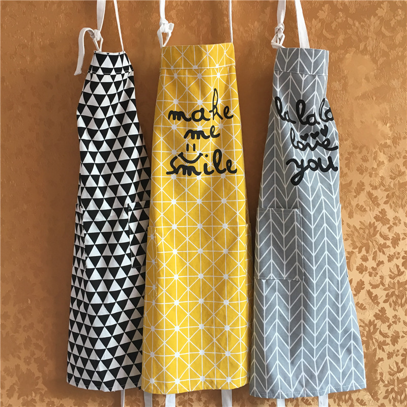 Northern European-Style Cotton Linen Apron Kitchen Home Cleaning Protective Clothing Men And Women Cooking Pure Cotton Apron Wor
