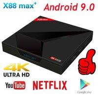 Android 9.0 TV Box 4GB RAM 64GB ROM X88 MAX PLUS RK3328 Quad Core TYPE C 2.4G/5Ghz Dual WiFi BT4.0 4K Smart Set Top Box PK 8.1