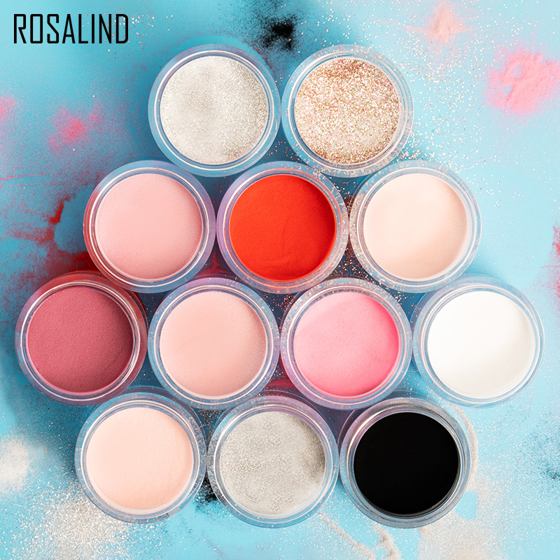 ROSALIND Nail Pollen Glitter Acrylic Powder Nail Extension Builder Dipping Powder Nail Art Carving Decoration For Manicure