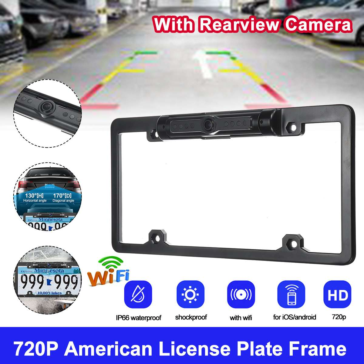 170°  WiFi Car License Plate Frame Wireless Backup Rearview Camera Night Vision