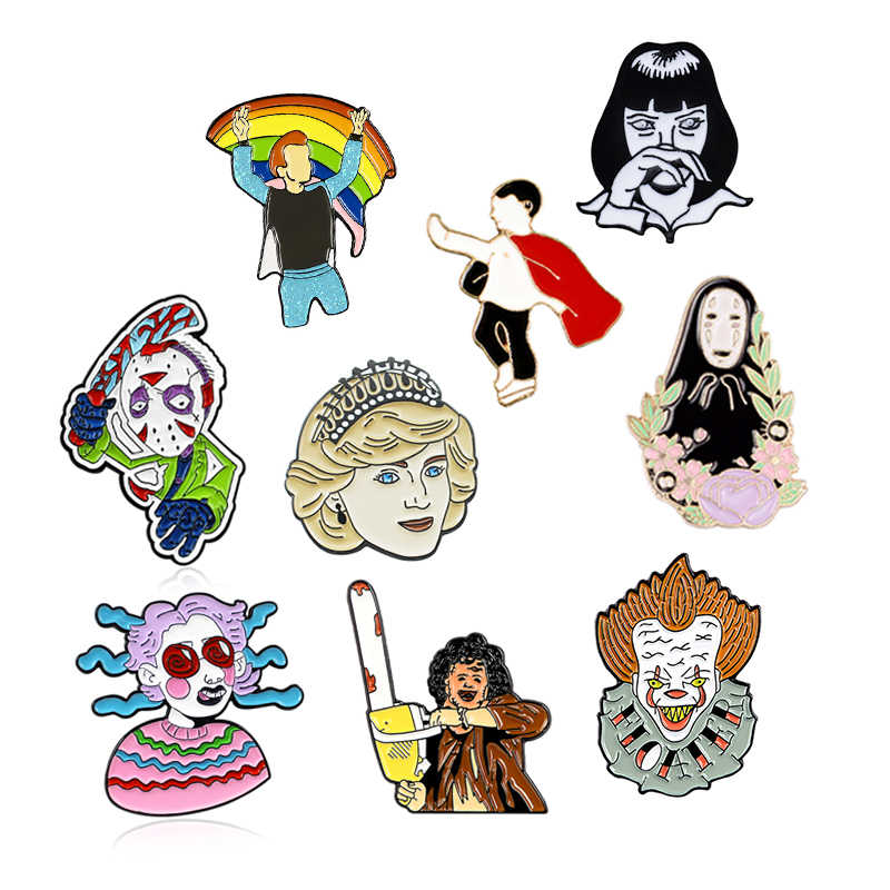 Princesa diana superman sem rosto homem arco-íris esmalte pinos assassino leatherface, jason voorhees, mia wallace maldito filme broche distintivo