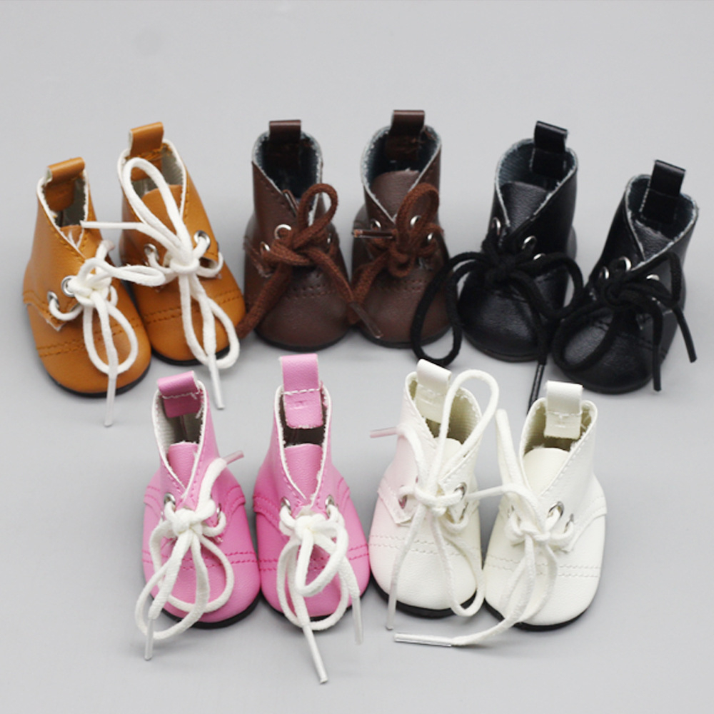 1 Pair 5cm Fashion Mini PU Leather Boot For <font><b>1/6</b></font> BJD 14'' Russian Cloth Handmade <font><b>Doll</b></font> Accessories Toy <font><b>Shoes</b></font> Accessories image