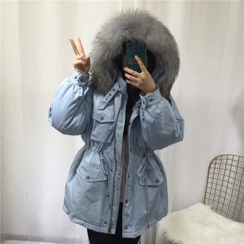 Large Natural Raccoon Fur Down Coat Winter Jackets Women White Duck Down Pocket Hooded Parkas Female Warm Outwear