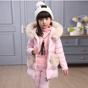 Image 4 - Winter 3 piece Set Girls Children Clothing Warm Parka Down Jacket Girl Clothes Childrens Coat Snow Wear Suit Winter Jacket Coat